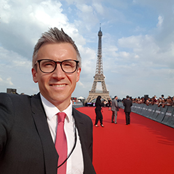 Cameron Saunders on the red carpet at the Mission Impossible world premiere in Paris.