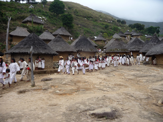 Ceremonial procession in a Kogi village to renew the life-giving forces of nature (Falk Parra Witte, 2014)