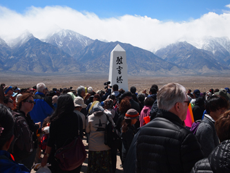 Pilgrims congregate at the former Manzanar concentration camp (Michael Vine, 2016)