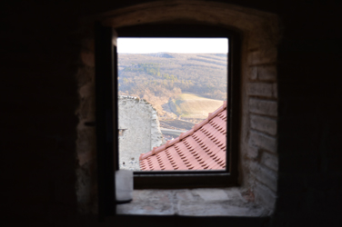 The view out of a window of the medieval castle at Rupea (Hugh Williamson, 2015)