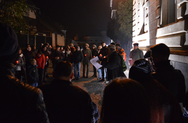 Citizens in a small Transylvanian town gather to pay their respects to those killed when the Colectiv nightclub in Bucharest burned down in October 2015 (Hugh Williamson, 2016)