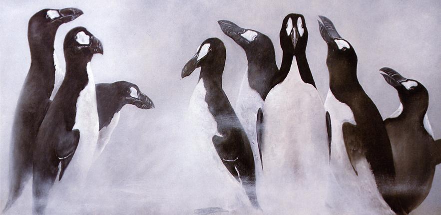 Great Auks in the mist by Errol Fuller